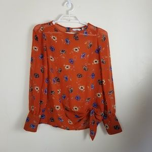 New Look sz 8 orange chiffon floral blouse side